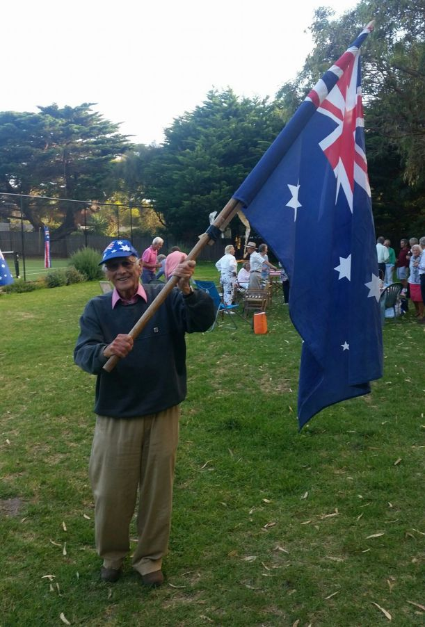 Angus waves the flag