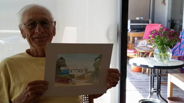 Angus with Liz watercolour of motel