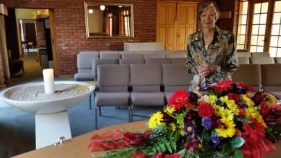 Liz at funeral